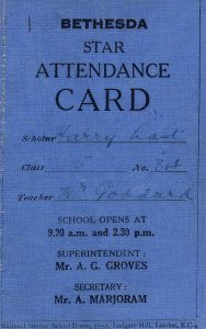 Bethesda Sunday School Ludgate Hill Church London Antique Attendance Card