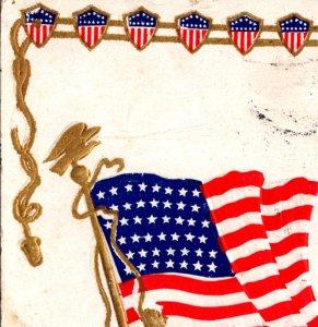 Patriotic American Flag embossed gold Dresden Washington Birthday c1909