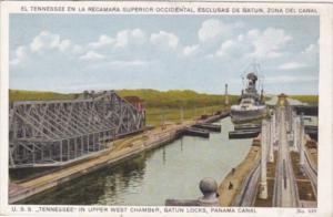 Panama U S S Tennessee In Upper West CHamber Gatun Locks Panama Canal