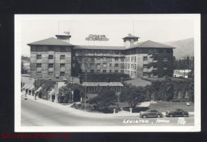 RPPC LEWISTON IDAHO LEWIS CLARK HOTEL 1940's CARS REAL PHOTO POSTCARD VINTAGE