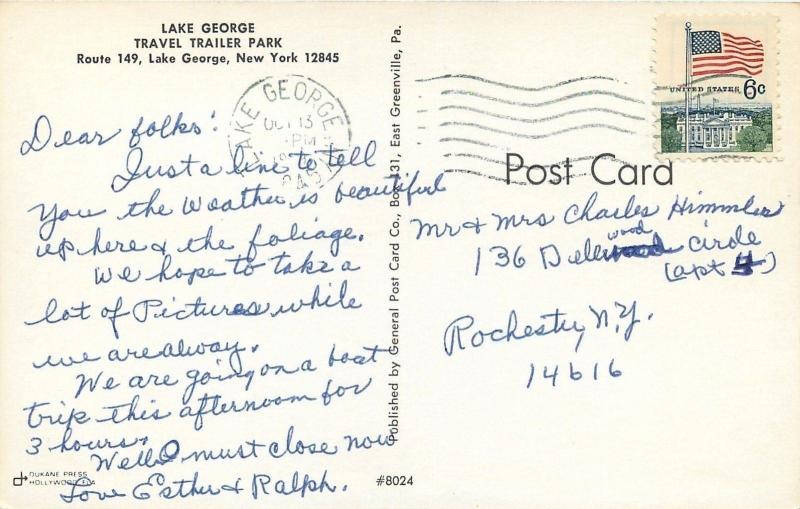Lake George New York~Travel Trailer Park~Swimming Pool~1960s