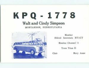Greyhound Bus - Qsl Cb Ham Radio Card Montandon Pennsylvania PA t8776