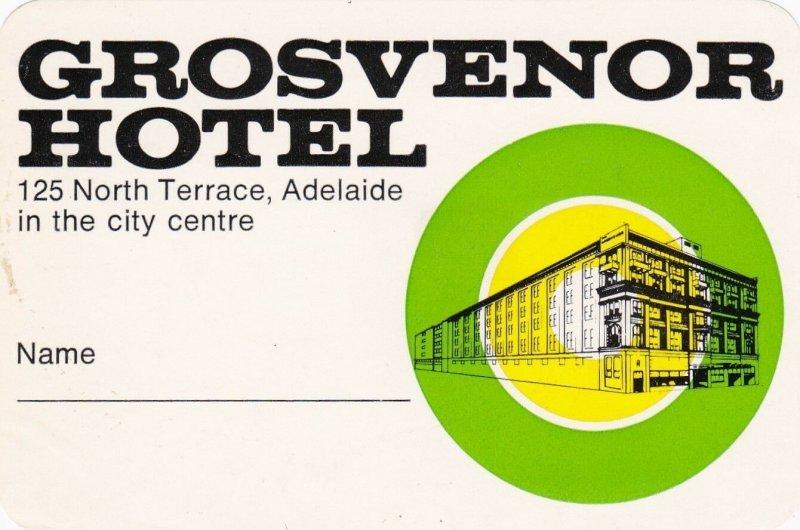Australia Adelaide Grosvenor Hotel Vintage Luggage Label sk3764