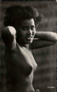 Nude Black Woman Bare Breasts Provocation Publ Casablanca RPPC Postcard