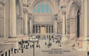 1910s US Postcard of the, Interior of Pennsylvania Railroad Station, New York