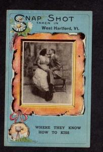 VT Snap Shot Lovers Kiss Kissing West Hartford Vermont Postcard PC Vintage