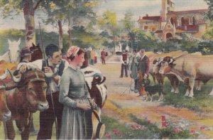 NEW YORK CITY , 30-40s ; Hotel Tudor , Lounge Oil Painting Festival of St Ro...