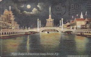 Night Scene In Dreamland Coney Island New York City New York 1909
