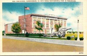 Virginia Harrisonburg High School With World War Memorial Park In Foreground