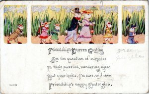 Anthropomorphic Well Dressed Rabbit Family Bunnies Vintage Easter Postcard BE