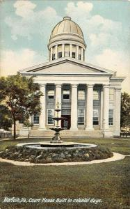 Norfolk Virginia~Fountain in Front of Colonial Courthouse~Dome & Columns~c1910