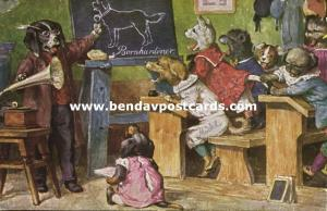 Artist Signed Thiele, School Class with Dressed Dogs, Gramophone Phonograph 1931