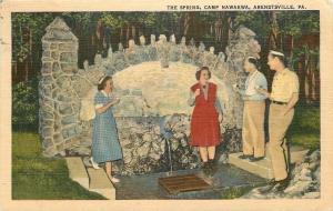 Arendtsville PA~The Spring~Camp Nawakwa~Stone Gargoyle~1940s Postcard