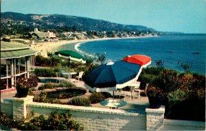 VTG Chrome Laguna Beach California Victor Hugo Inn Patio Flowers Heisler Park
