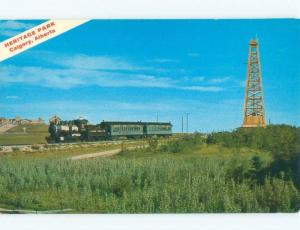 Pre-1980 VINTAGE STEAM TRAIN AT HERITAGE PARK Calgary Alberta AB c8541