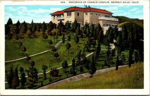 Vtg Residence Of Charlie Chaplin Actor Beverly Hills California CA Postcard