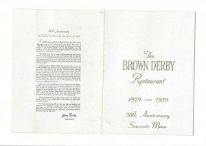 Vintage Restaurant Menu BROWN DERBY 1959 30th Anniversary souvenir
