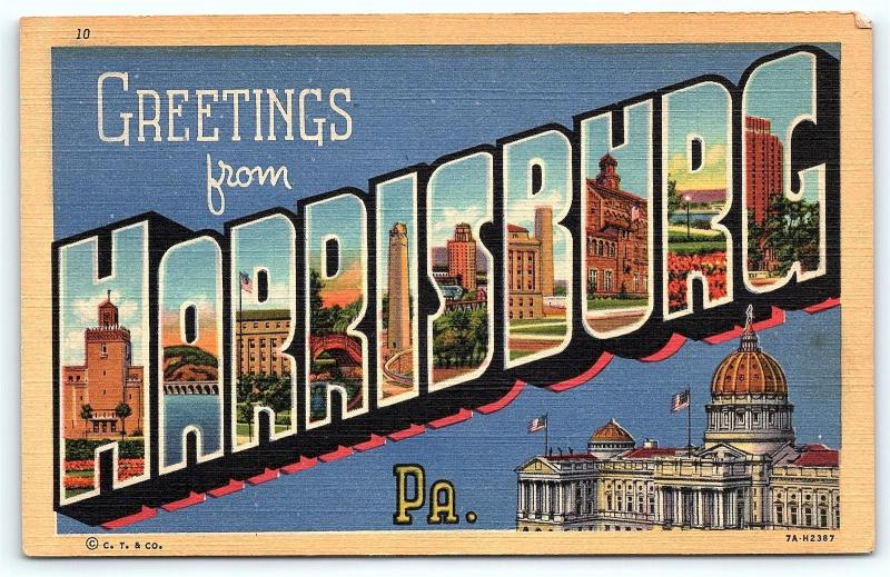 Postcard PA Harrisburg Large Letter Greetings from Harrisburg Pennsylvania