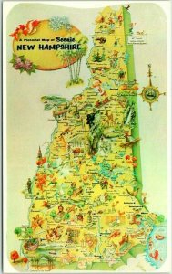 Vintage 1960s NEW HAMPSHIRE State Map Postcard Comic Drawings Dexter Chrome