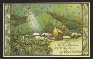 Christmas Best of Good Wishes Star Shining Town Used c1912