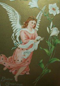 Easter Postcard Pink Dress Angel With Lilly Flowers Series 2149 Vintage Original