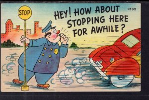 Hey! How About Stopping Here For Awhile? Policeman Car Comic
