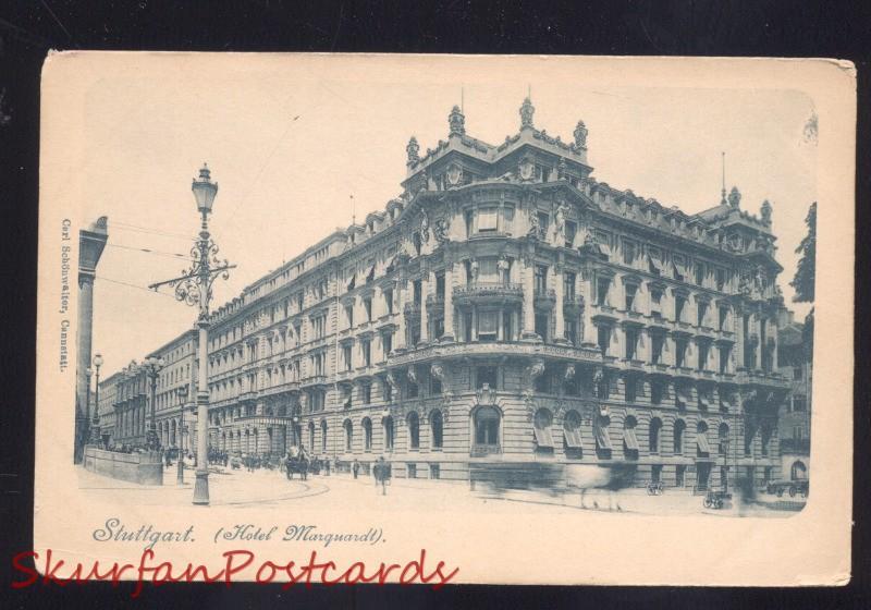 Stuttgart Germany Hotel Marquardt Downtown Antique Vintage Postcard