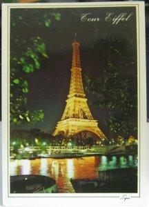 France Paris Tour Eiffel et la Seine Nuit - posted 1992
