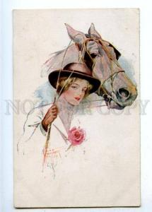 177361 BELLE Lady & HORSE by Court BARBER vintage Russian PC