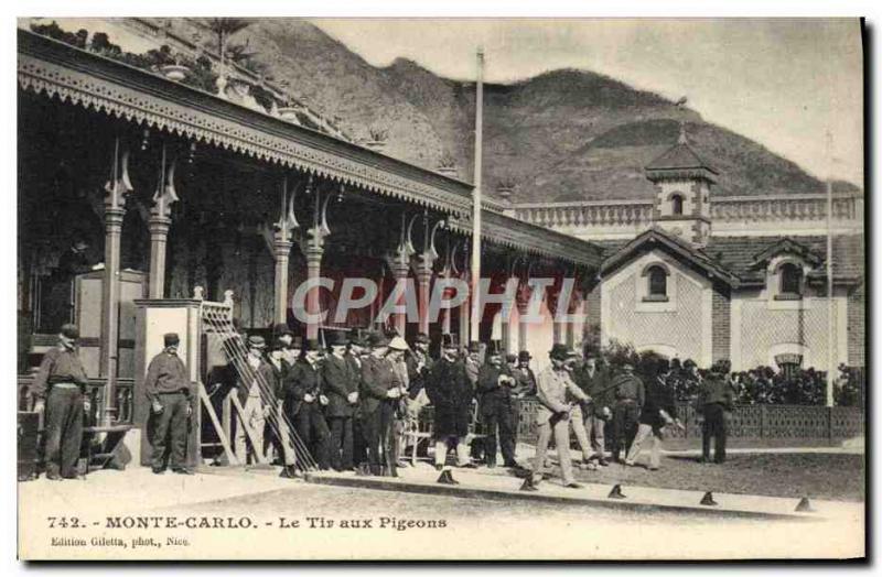 Old Postcard Monte Carlo Monaco Le pigeon shooting