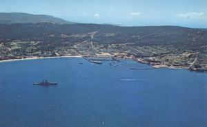 US Navy Cruiser visiting Harbor at Monterey CA, California
