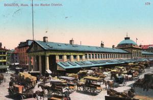 Boston Mass In The Market District USA WW1 Postcard