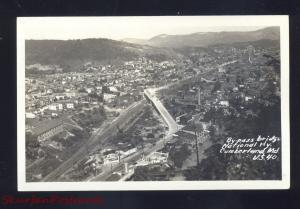 RPPC CUMBERLAND MARYLAND NATIONAL HIGHWAY BIRDSEYE VIEW REAL PHOTO POSTCARD