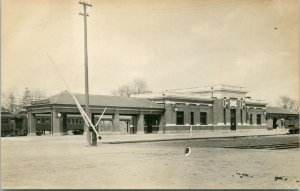 Donner's Grove IL~RR Crossing Gates~Railroad Depot~Passenger Train~RPPC c1914 PC