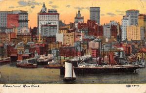 USA New York Riverfront Boats Bateaux Panorama 1910