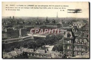 Old Postcard Jet Aviation Paris Le count of Lambert on his Wright airplane pa...