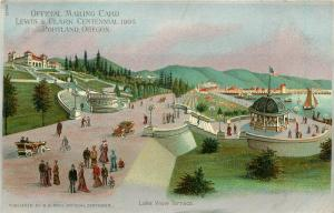 1905 Lewis & Clark Centennial Expo Mailing Card Portland OR Lake View Terrace