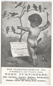 Boston MA Plimpton-Hervey Home Furnishers Cupid Sing Birds Advertising Postcard