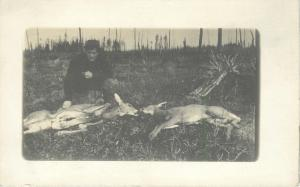 A Man And His Two Dead Deer~Real Photo Postcard 1907-1918