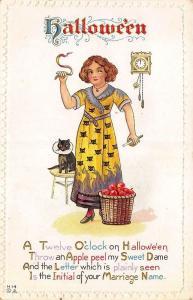 Halloween Greetings Black Cat Clock Young Woman Apples Poem Embossed Postcard