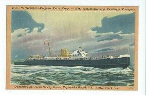 Postcard M.V. Northampton Virginia Ferry Corp Kiptopeke Beach Virginia VPC01.