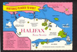 NS Halifax Nova Scotia City Map Postcard Harbor Carte Postale Postcard