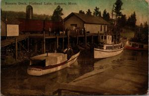 Somers MT~Flathead Lake Boat Landing~City of Polson Excursion~1911 Handcolored
