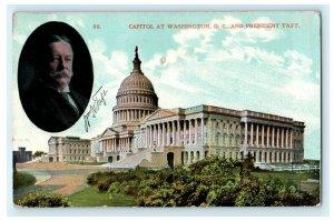 Capitol at Washington DC President Taft Portrait Vintage Antique Postcard