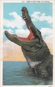 FLORIDA, PU-1932; Alligator With His Mouth Open, Drop In Any Time