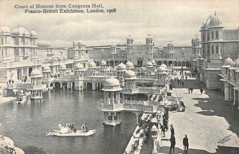 Court of Honour Congress Hall Franco-British Exhibition London 1908 Postcard