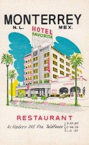 MONTERREY , N,L, , Mexico , 1950-60s ; Hotel Favorita & Restaurant