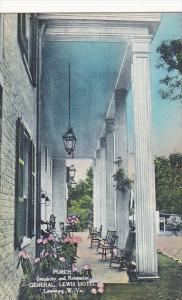 West Virginia Lewisburg The Porch General Lewis Hotel Handcolored Albertype