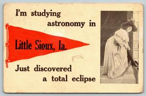 Little Sioux IA~Studying Astronomy, Just Discovered A Total Eclipse~Pennant 1912