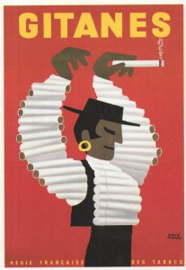 Gitanes Cigarettes French Advertising Poster Postcard